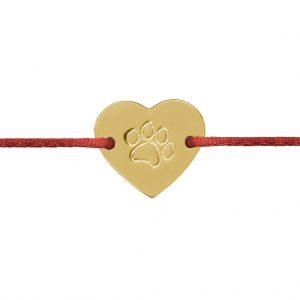 Naramok psia labka srdce zlte zlato Motivo Gold